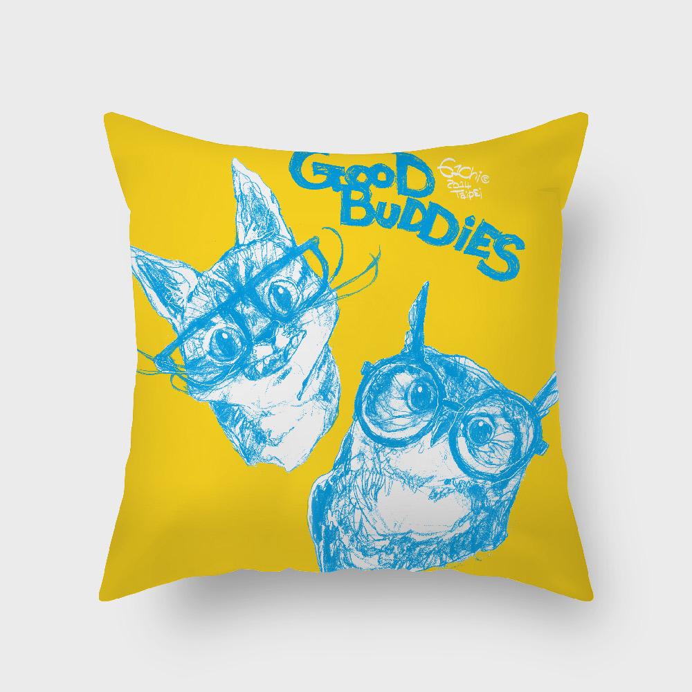 UMade|藝術家創作抱枕 -  GOOD BUDDIES─貓貓貓頭鷹 - 劉宜其 61Chi (40x40cm)