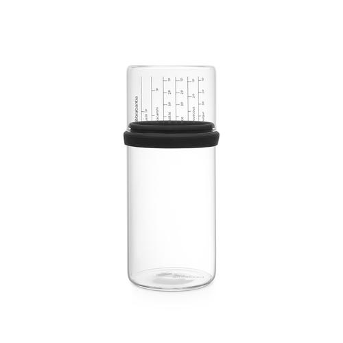 Brabantia| 玻璃量杯儲存罐1L-灰黑