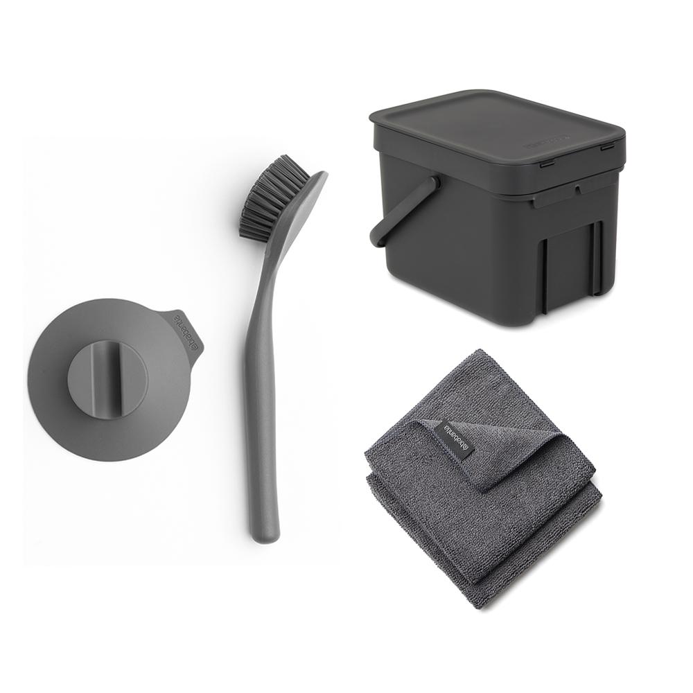 Brabantia │多功能置物桶6L+盤刷組-深灰 (贈碳纖維抹布2入)