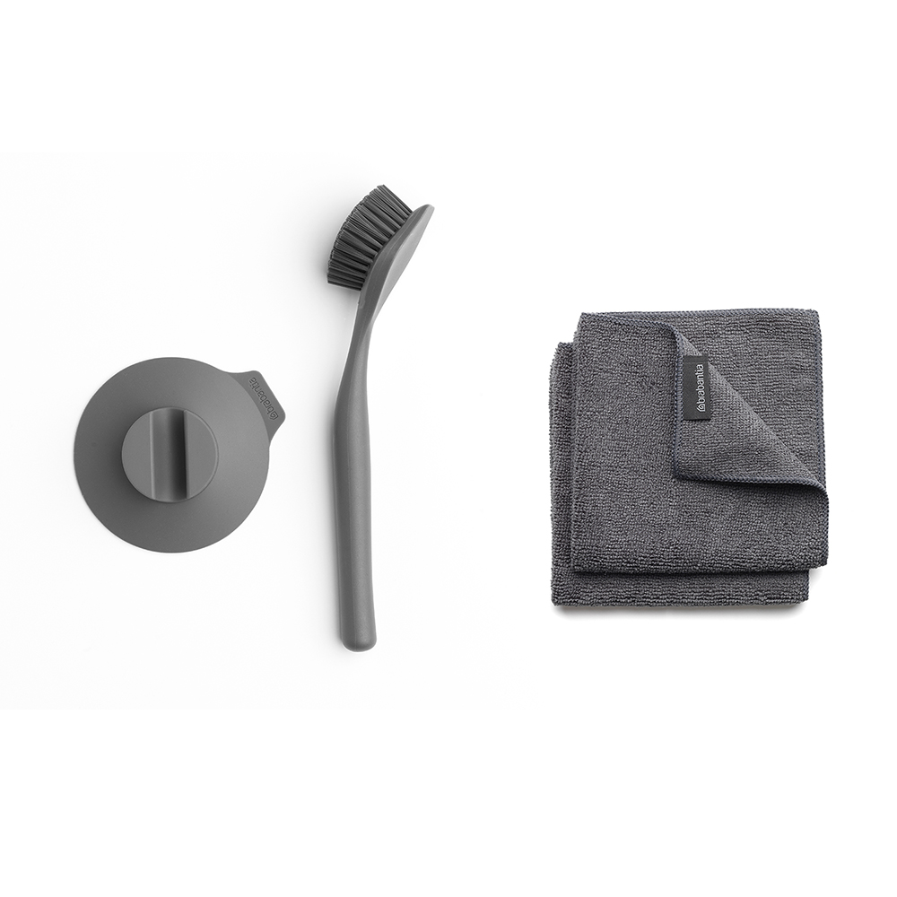Brabantia │盤刷組-深灰 (贈碳纖維抹布2入)