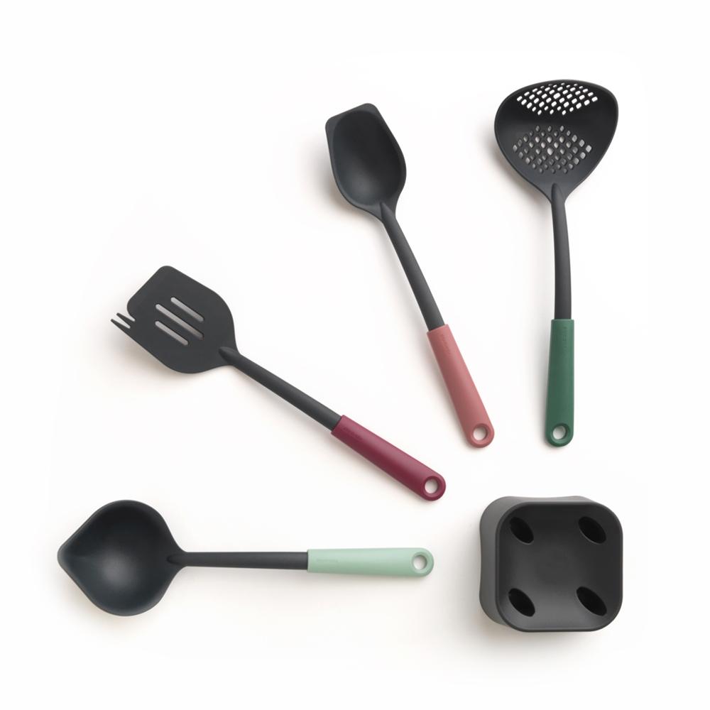Brabantia 多彩不沾配件5件組(尖嘴湯勺+鍋鏟+拌匙+漏勺+含底座)