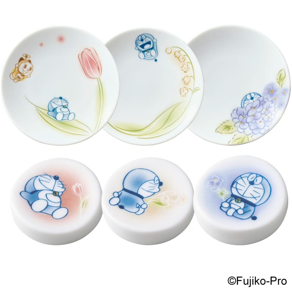 Noritake|哆啦A夢 鬱金香 鈴蘭花 繡球花6件組 - 筷架 醬油碟