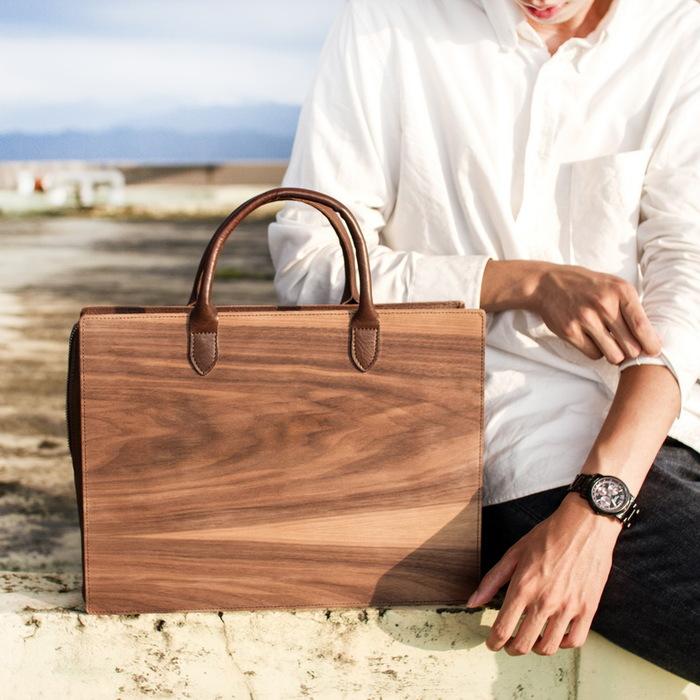 木入三分|木皮革手提包