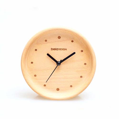 Beladesign│實木浮邊點點小桌鐘
