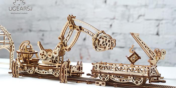 Ugears|自我推進模型 Tram Line 機械小鎮-鐵道怪手