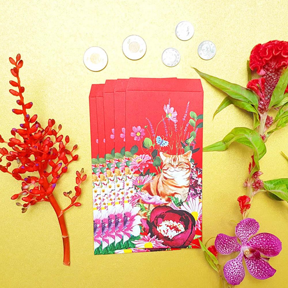 島民 福獸納福紅包袋 - 耄耋富貴/橘貓 - 5入