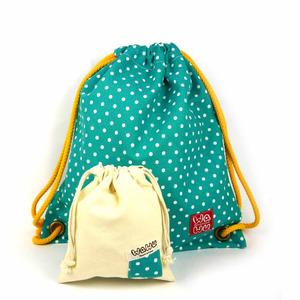 WaWu|束口後背包+小收納袋 (湖水綠點)