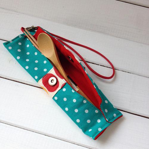 WaWu 筆袋/筷套-附繩附餐具(湖水綠點)