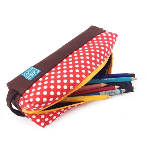 WaWu|吐司筆袋(紅色點點)