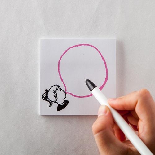 時刻創意|BUBBLE GUM泡泡糖 - 便利貼 女孩の粉草莓