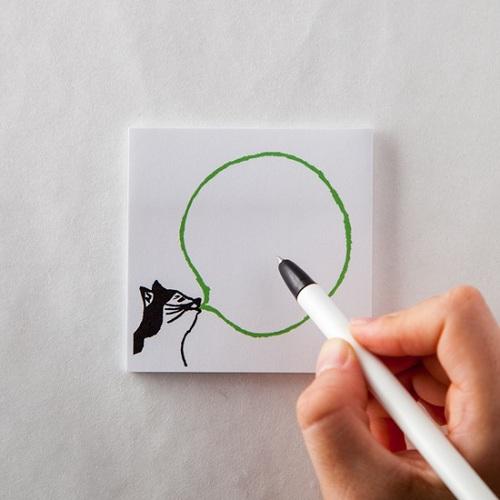 時刻創意|BUBBLE GUM泡泡糖 - 便利貼 貓貓の綠蘋果