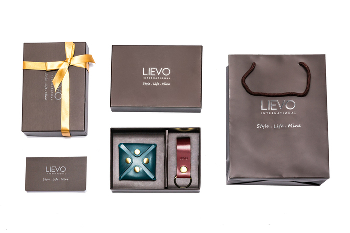 LIEVO| 水蠟皮壓扣零錢包+水蠟皮鑰匙圈
