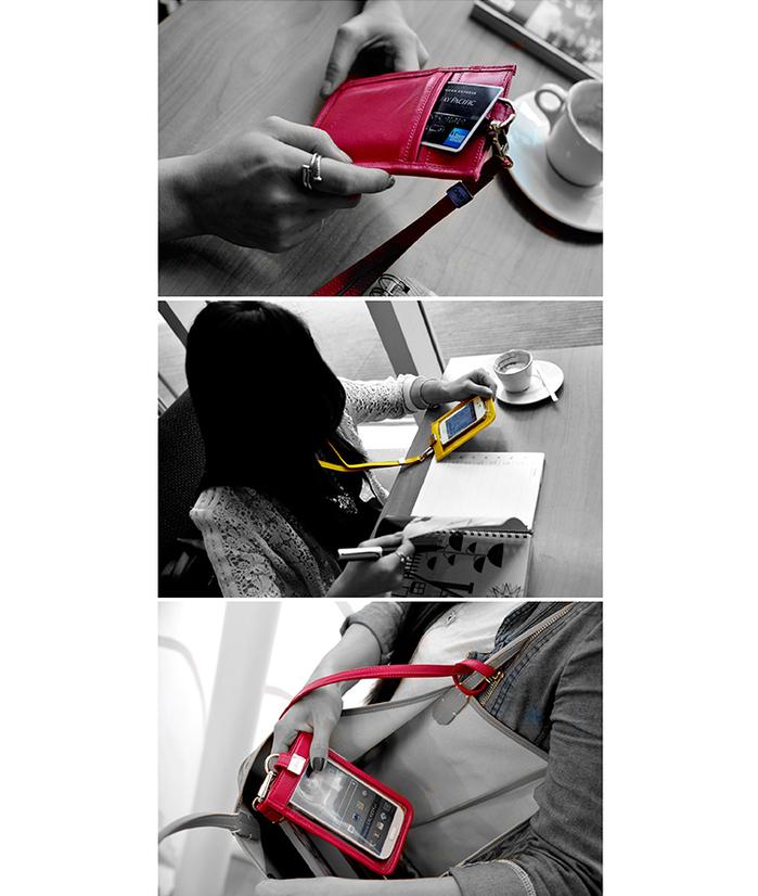LIEVO|頸掛式真皮手機套5.7 吋適用-TOUCH(森林綠)