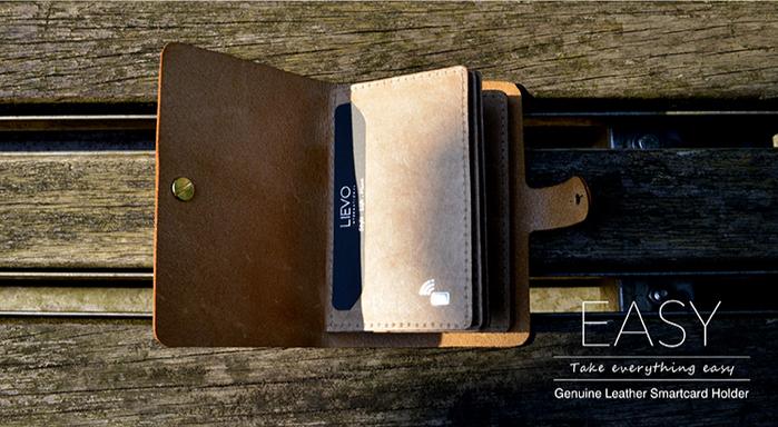 LIEVO 真皮感應卡片夾-EASY(經典黑)