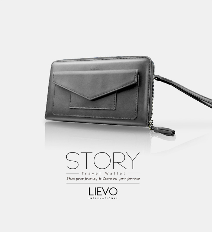 LIEVO|旅行手機皮夾-STORY(霧墨灰)