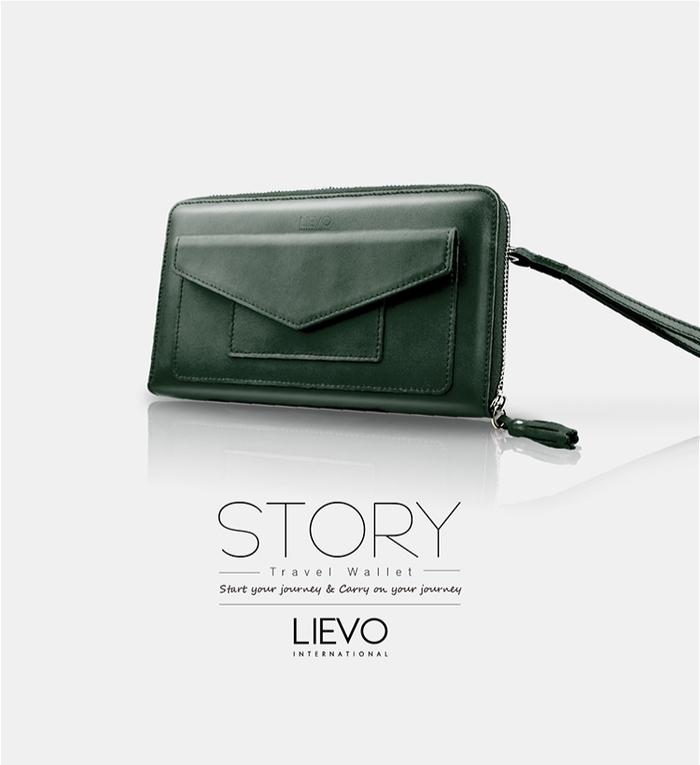 LIEVO|旅行手機皮夾-STORY(墨玉綠)