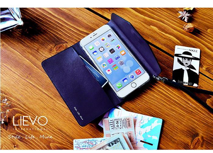 LIEVO|iPhone 7 Plus真皮掀蓋式手機套-STORY(深礦藍)
