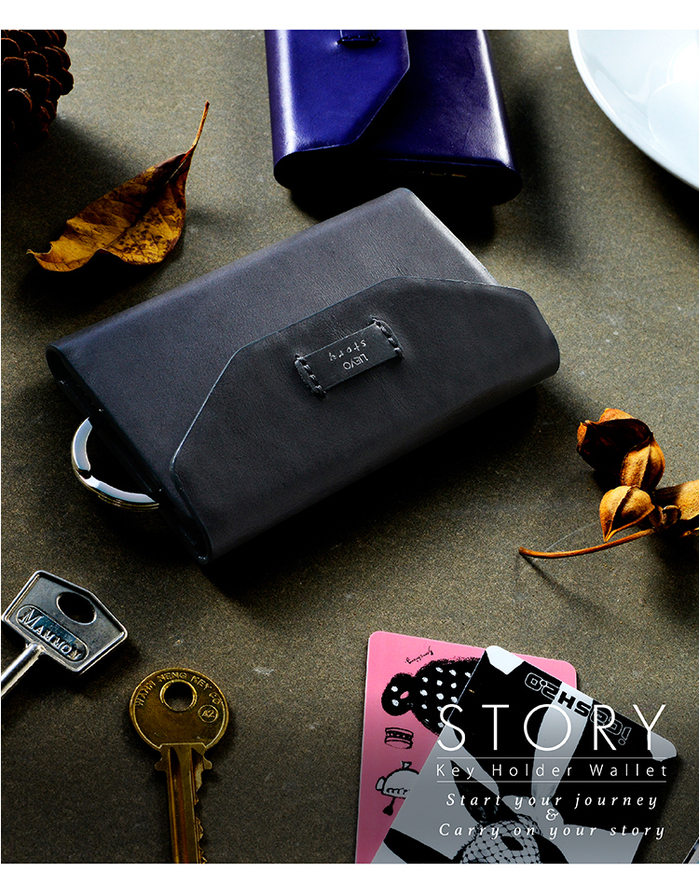 LIEVO|卡片鑰匙包-STORY(率性黑)