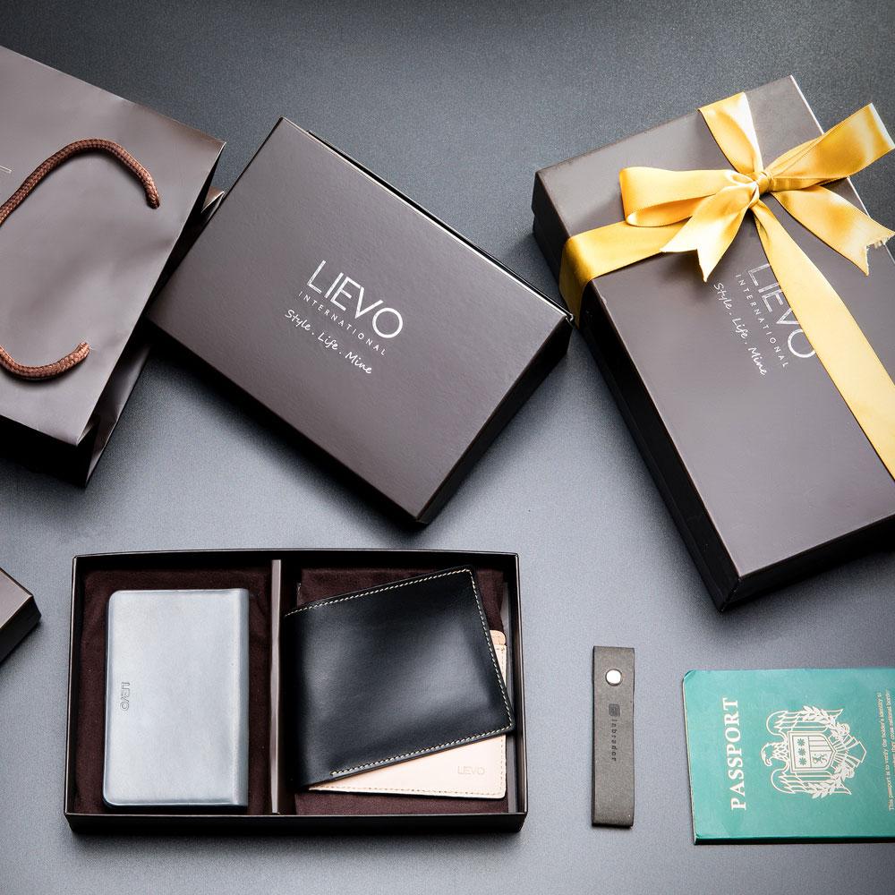 LIEVO|名片夾(霧墨灰) + 水蠟皮短夾禮盒組