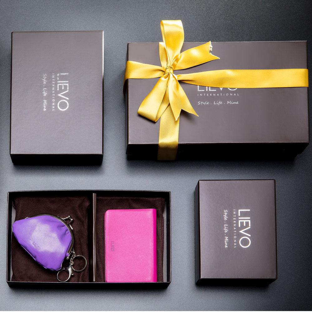 LIEVO|名片夾+ 真皮零錢鑰匙口金包禮盒組