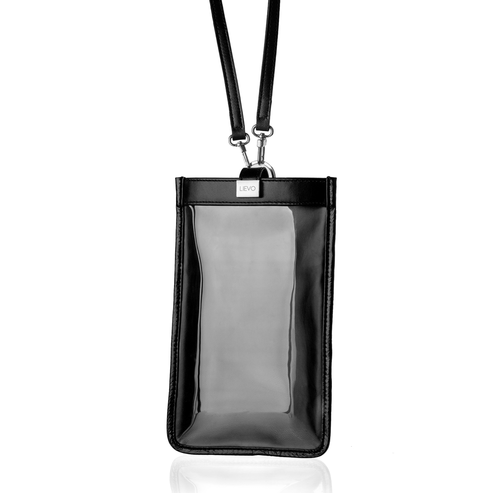 LIEVO 真皮斜背手機護照包7 吋適用-TOUCH(黑)