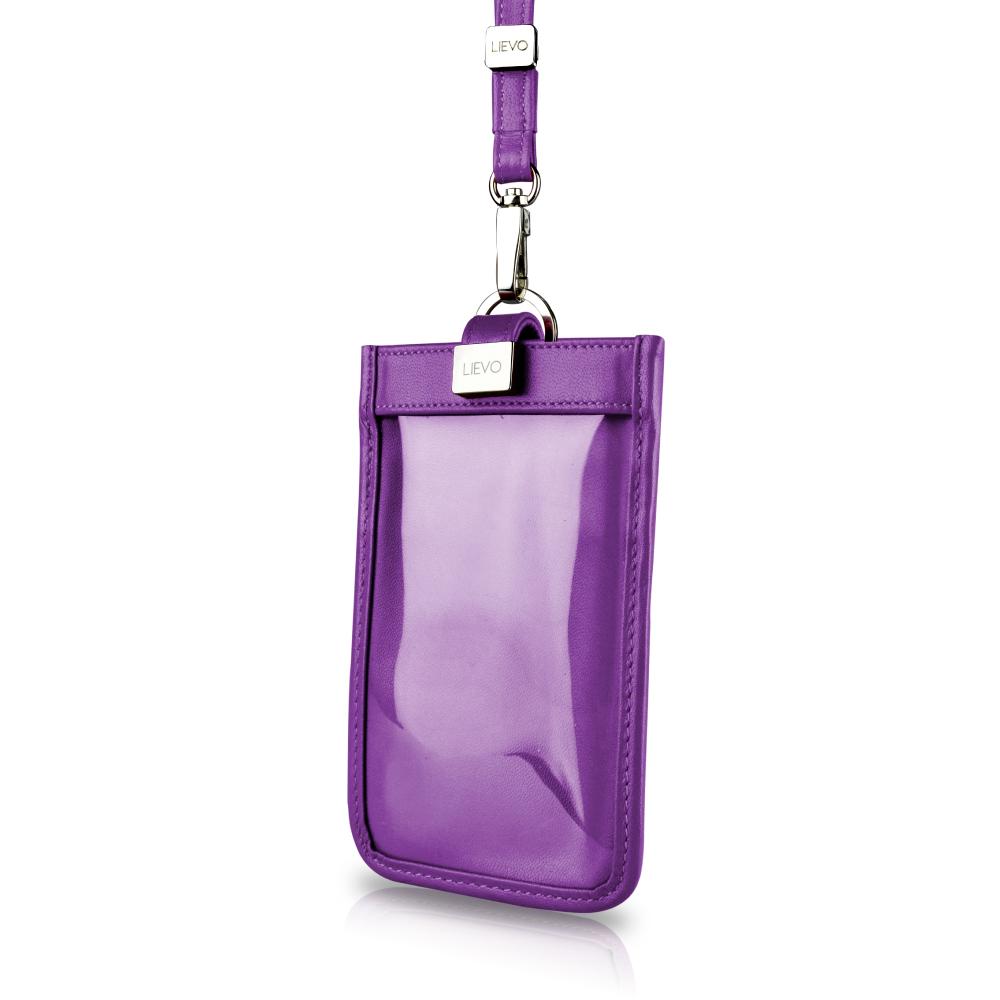LIEVO 頸掛式真皮手機套5.7 吋適用-TOUCH(深紫紅)