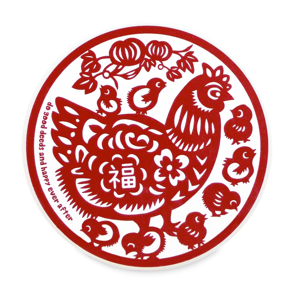 寶號BONHO|雞福滿堂陶瓷吸水杯墊
