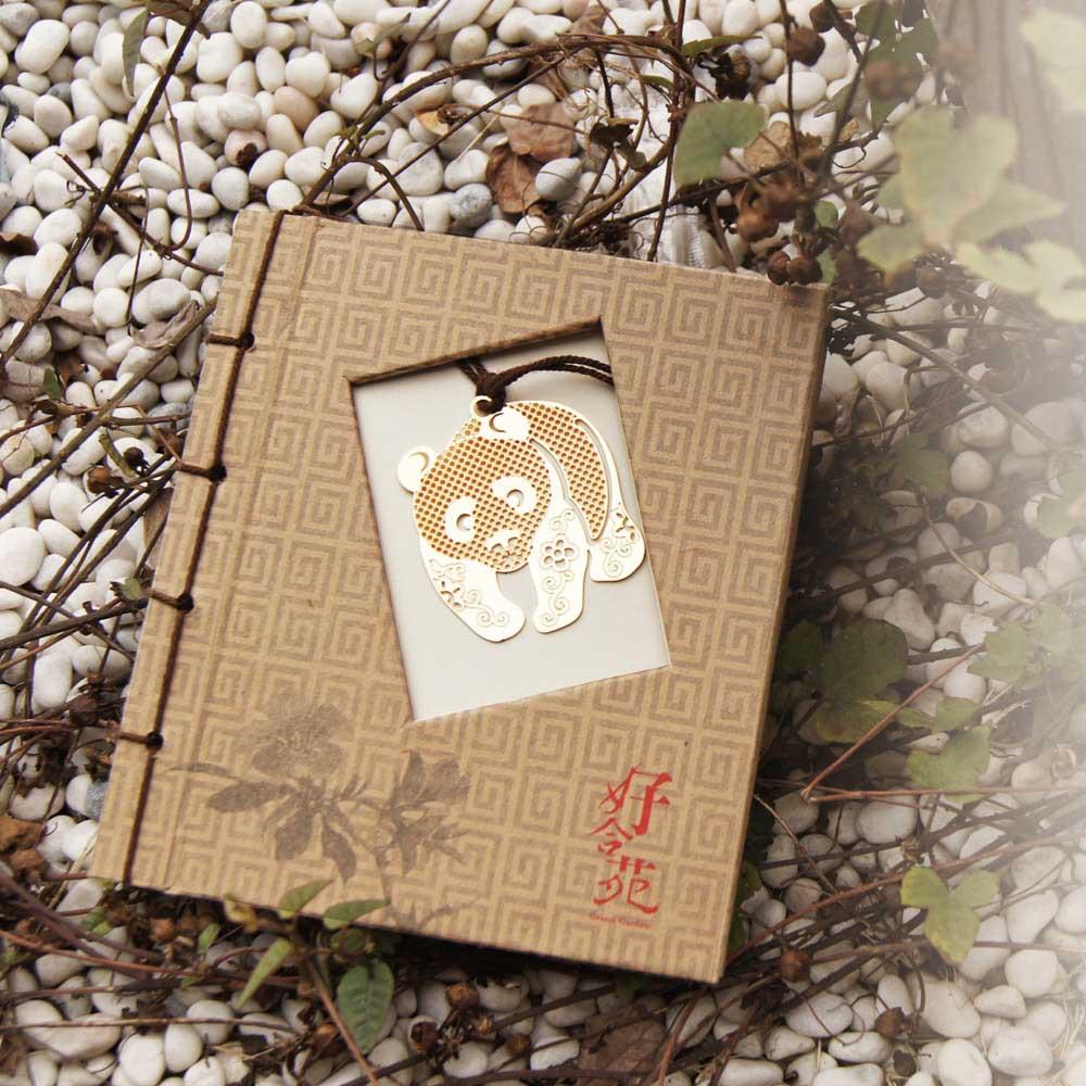 好合苑|24K金書籤記事本-熊貓