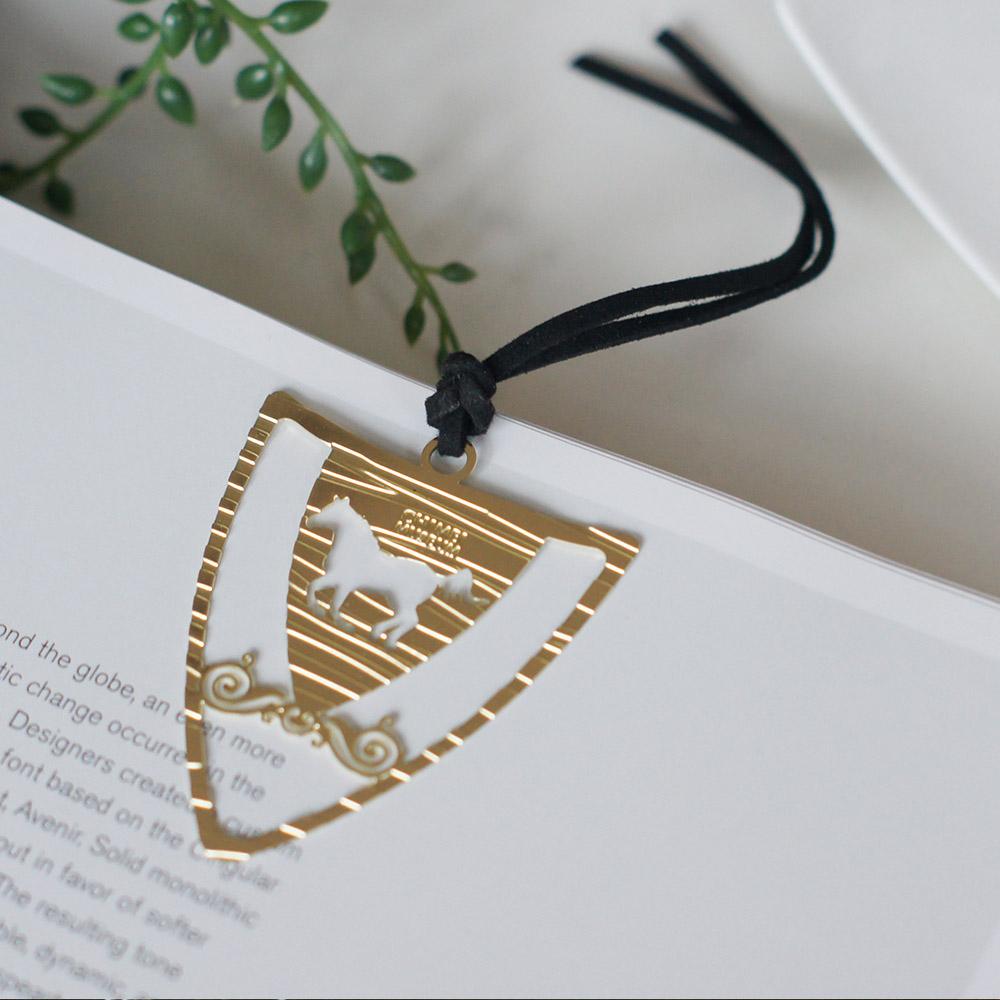 好合苑|馬盾形金屬書籤(金色)