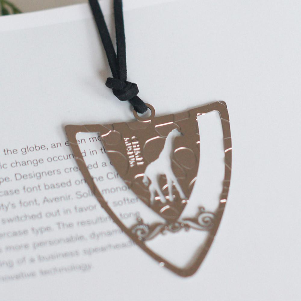 好合苑|長頸鹿盾形金屬書籤(銀色)