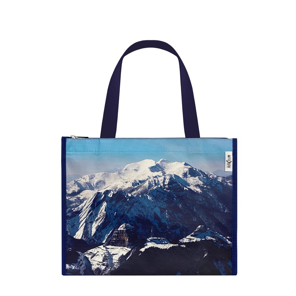 Sunny Bag 看見‧齊柏林基金會-橫式拉鍊提袋-聖稜線雪山、大霸尖山雪景