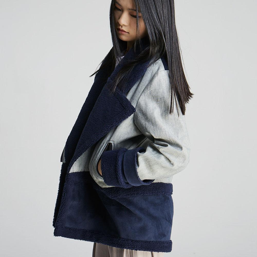 design+|單寧拼接短大/ (1702JK02BL)