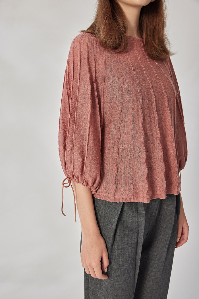design+ 立體直紋束袖罩衫(21S2TP04PK0010F)
