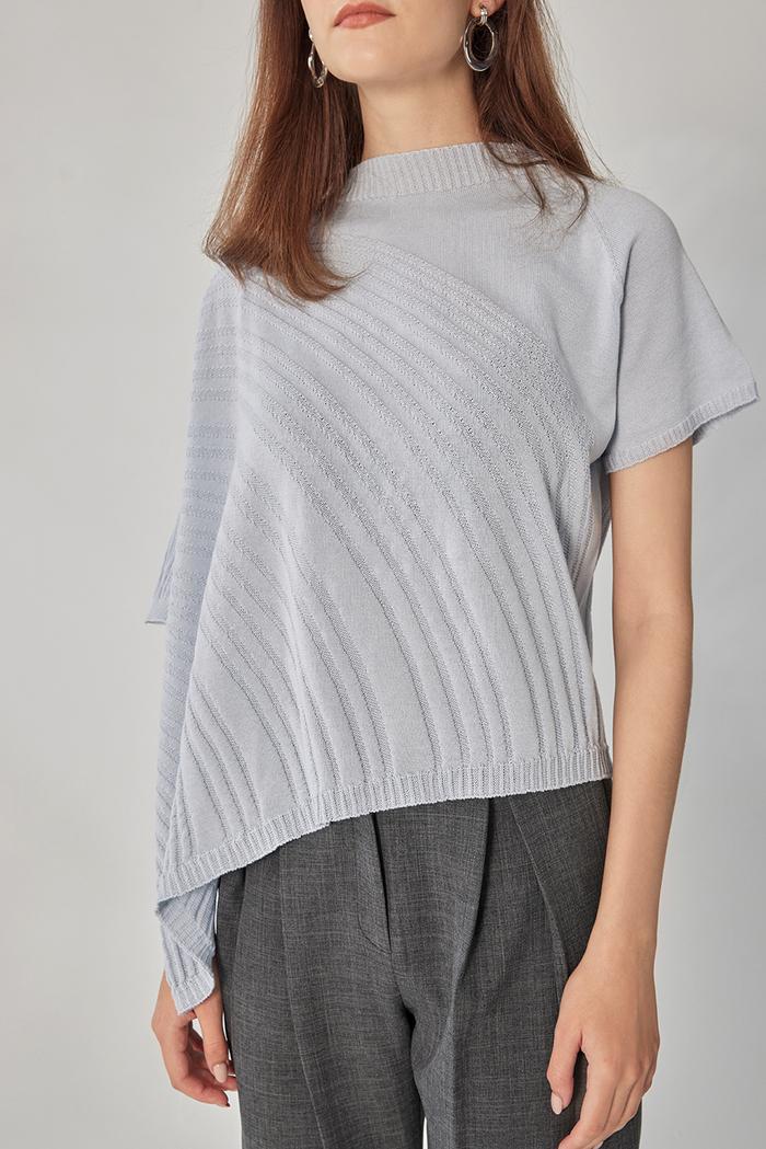 design+|不對稱波紋短袖上衣(21S2TP05BU0010F)