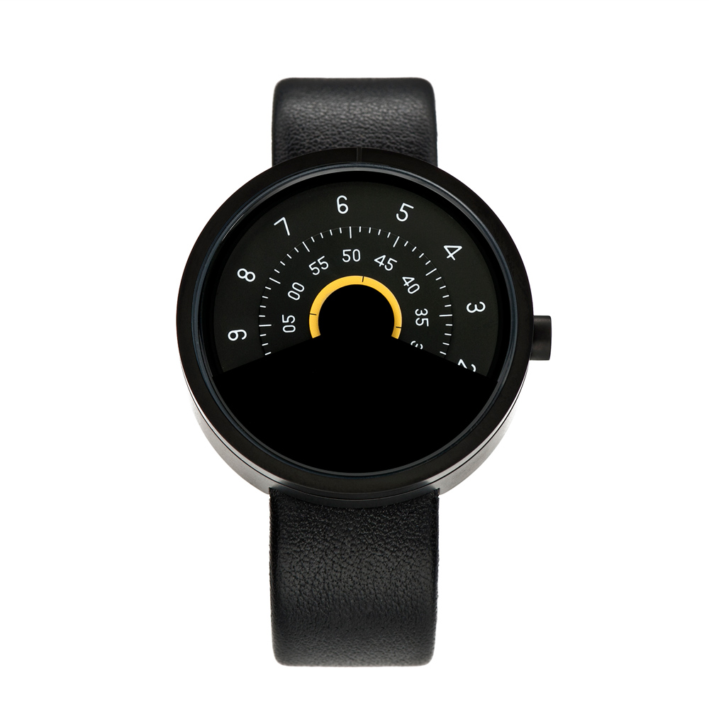 ANICORN|Series 000 簡約時尚轉盤機械手錶-Yellow(純鋼霧面黑+黃色)