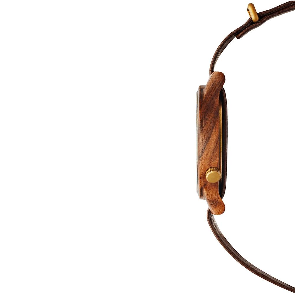 KERBHOLZ|原木手錶 Walter-核桃木 (棕褐/真皮錶帶)