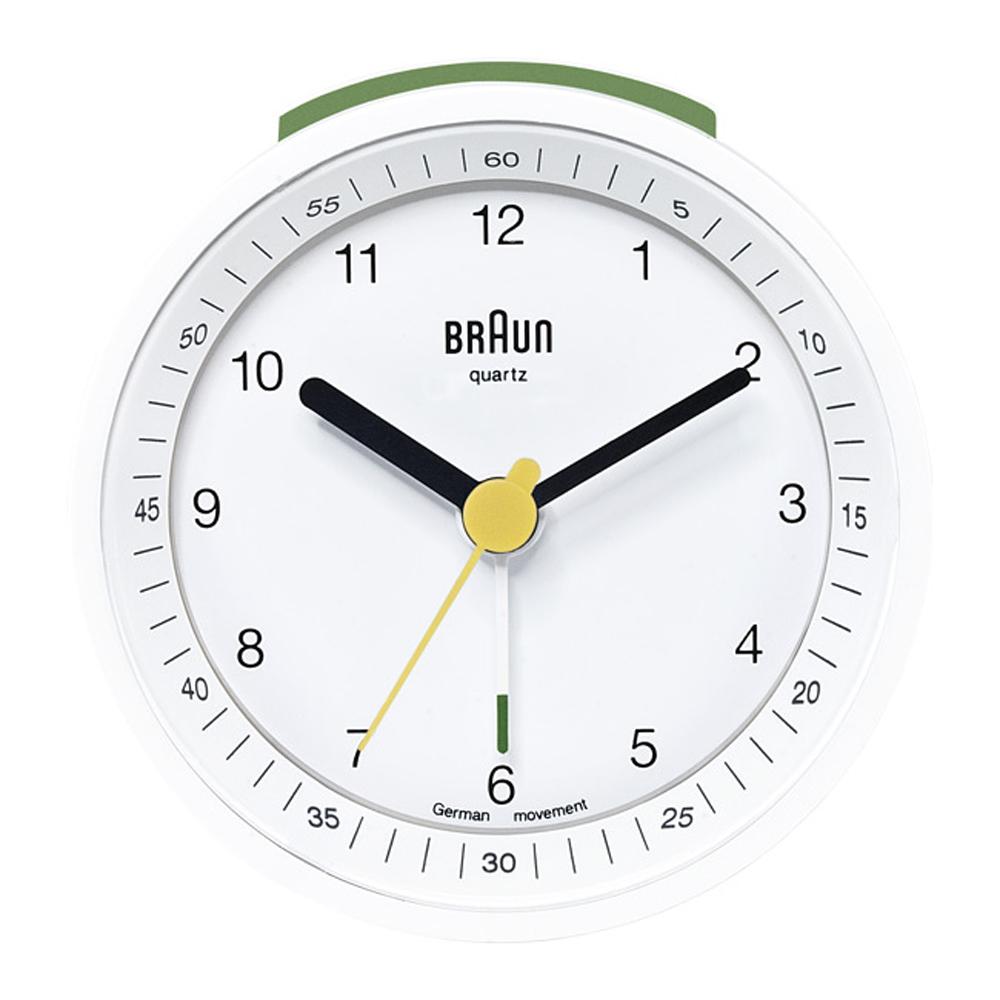 德國BRAUN百靈 經典復古圓形鬧鐘-白(BNC007WHWH)