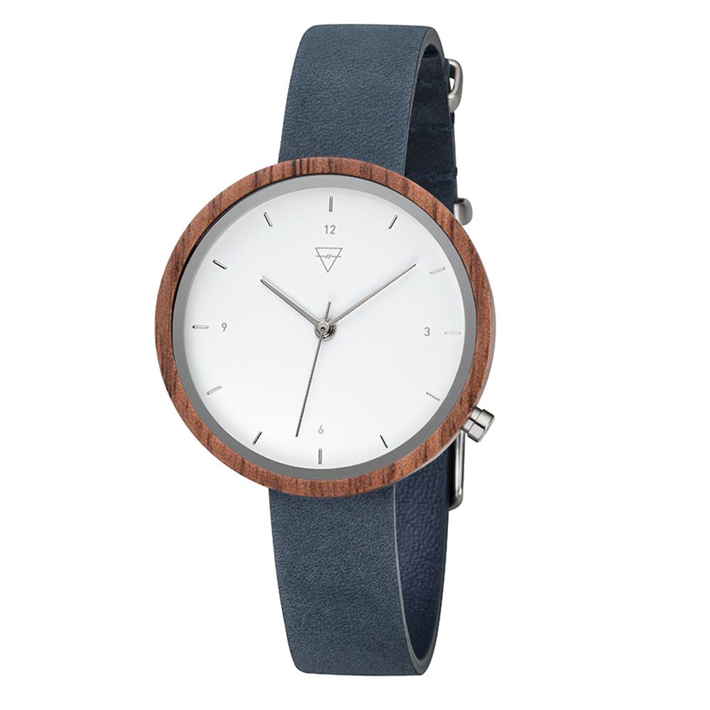 KERBHOLZ|原木手錶 Hilde-核桃木(岩藍)