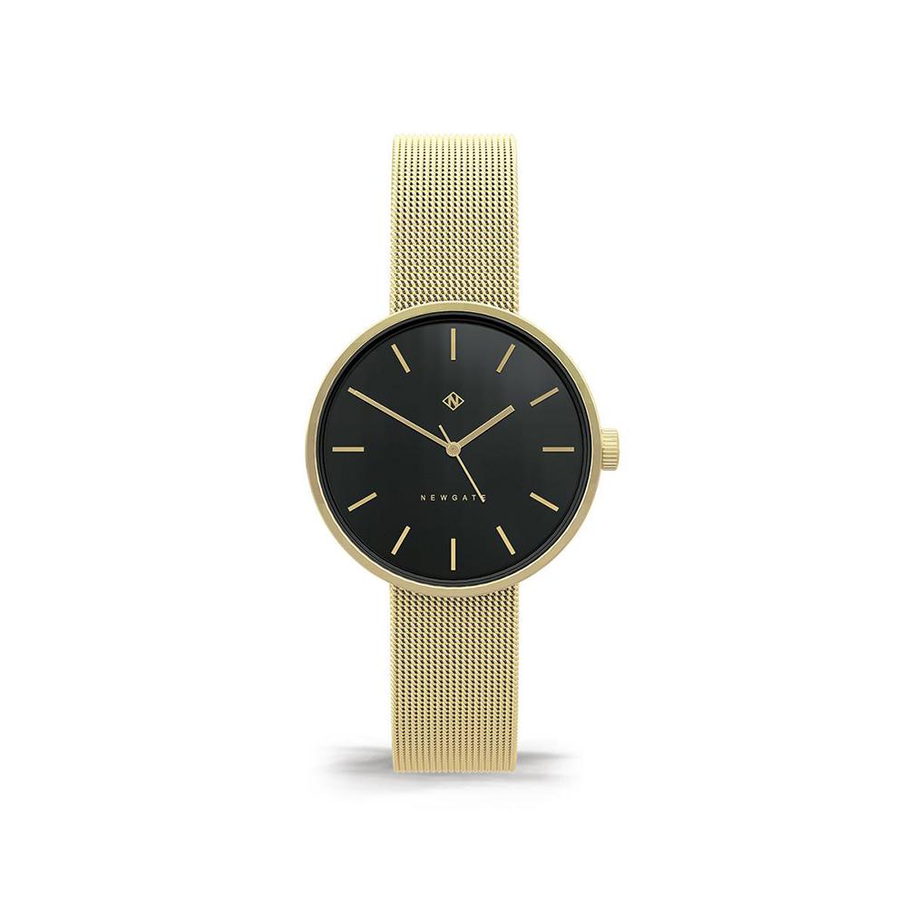Newgate | ATOM-時尚金-黑色錶面-不鏽鋼米蘭帶-32mm