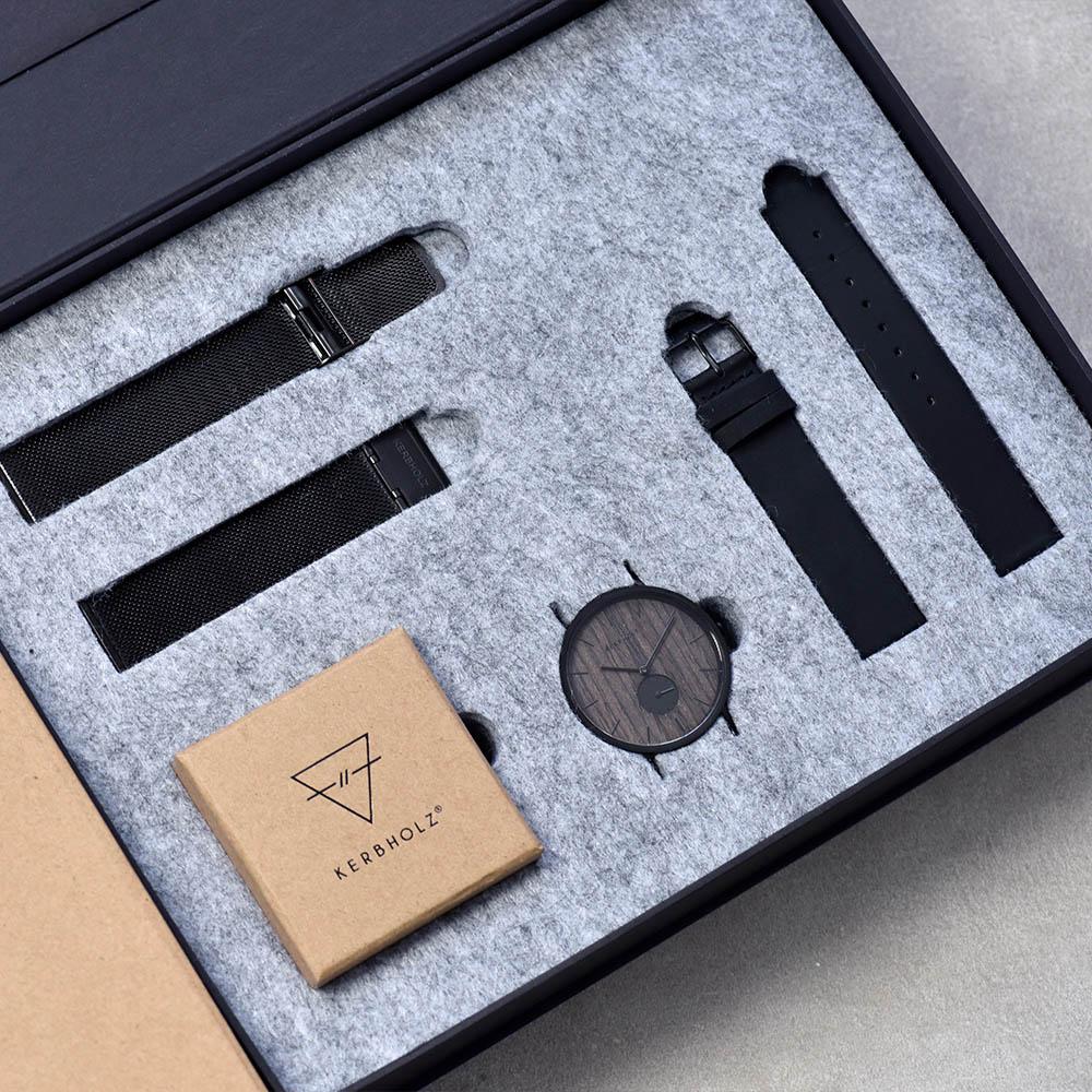 KERBHOLZ|原木手錶 FRITZ禮盒組-核桃木-夜黑(40mm)