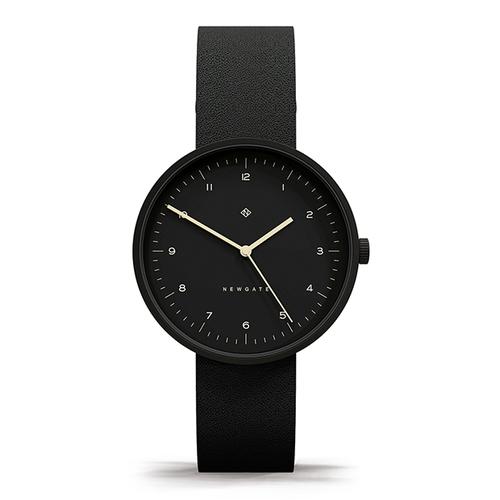 Newgate | DRUMLINE-經典數字-紳士黑-皮革錶帶-40mm