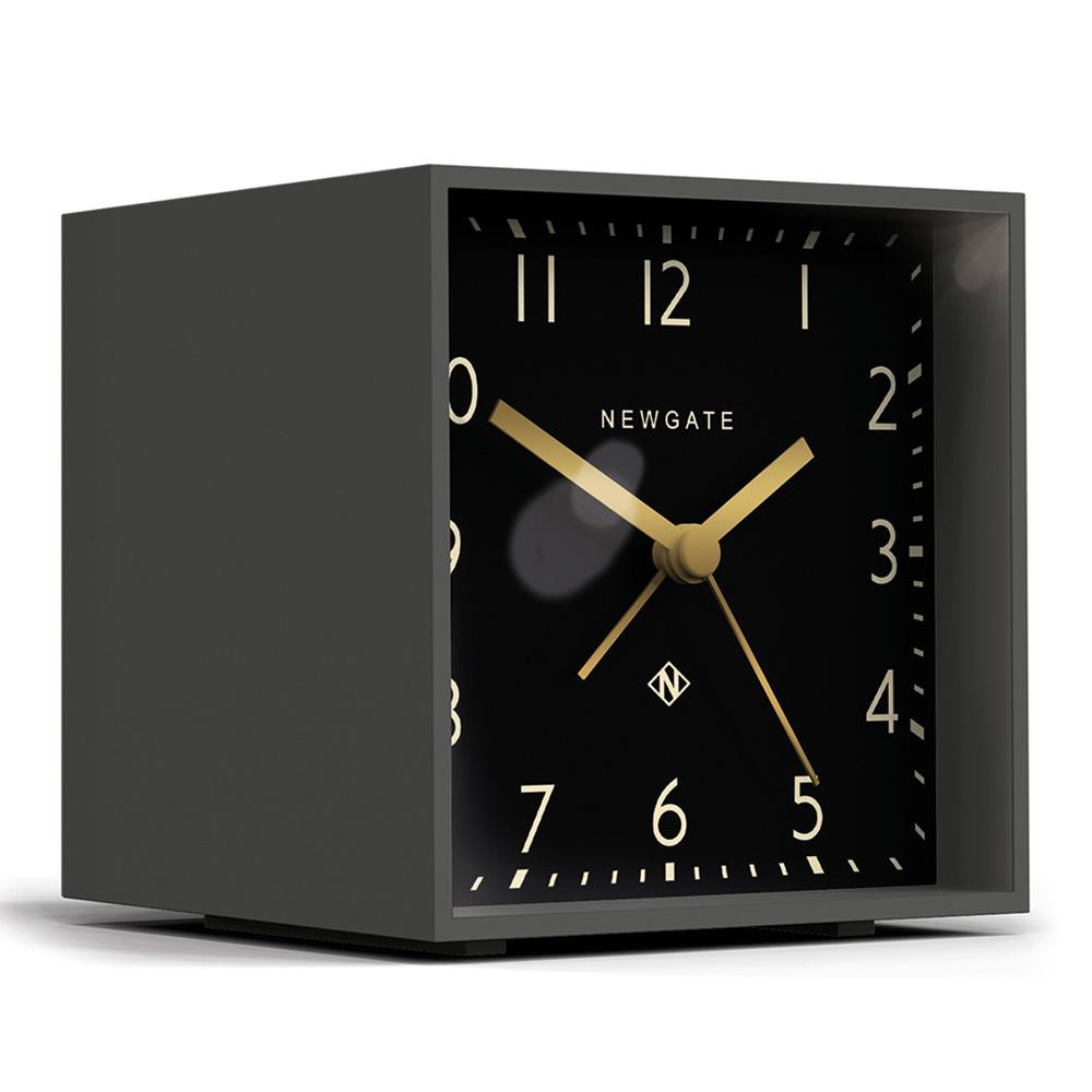Newgate|英倫風格桌鐘-摩登方塊-紳士黑-11cm x 10cm