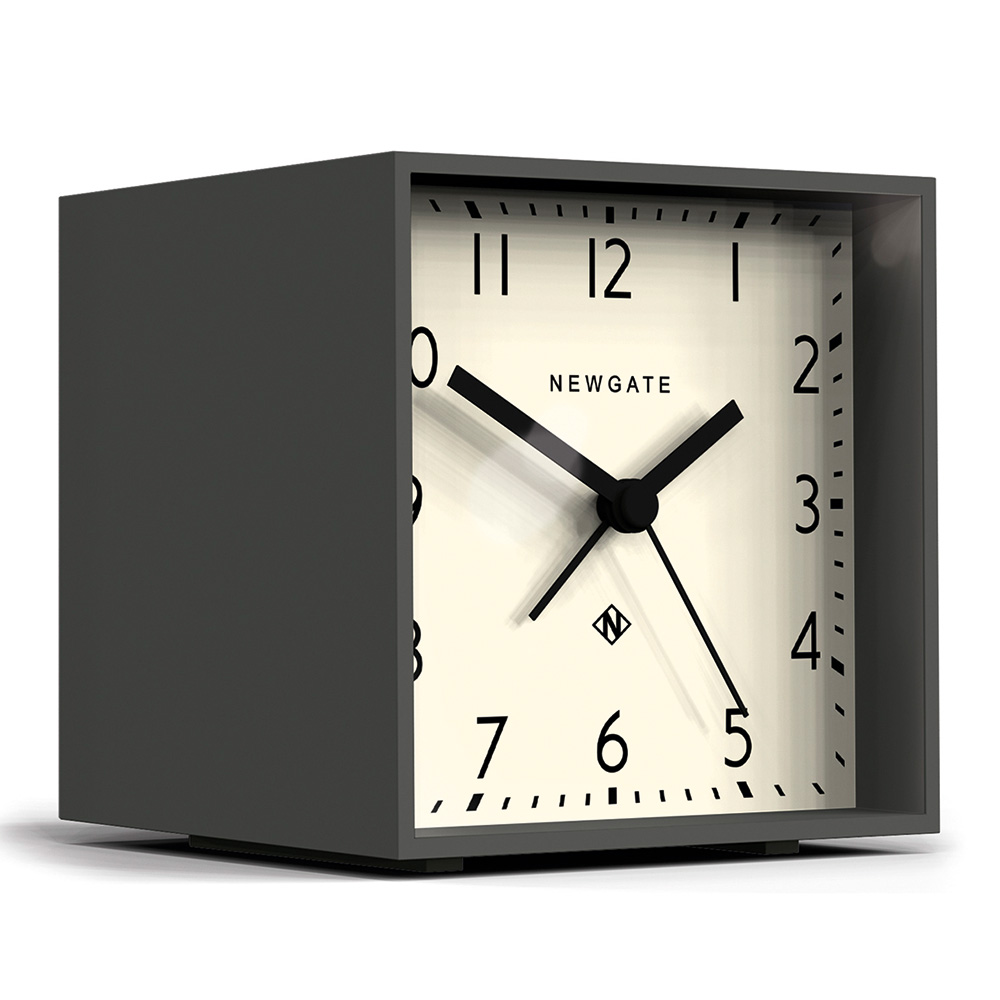 Newgate|英倫風格桌鐘-摩登方塊-優雅白-11cm x 10cm