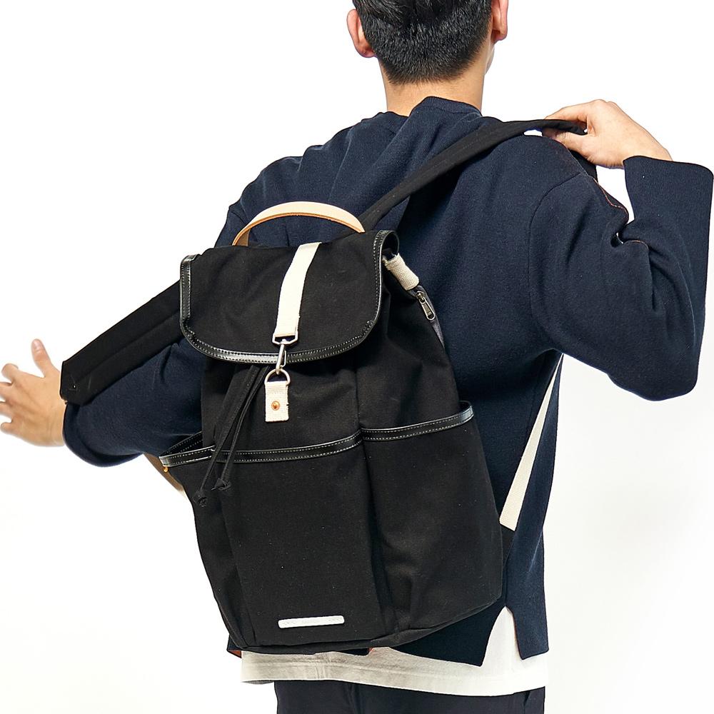RAWROW|公園系列-15吋兩用束口後背包(手提/後背)-墨黑-RBP700BK