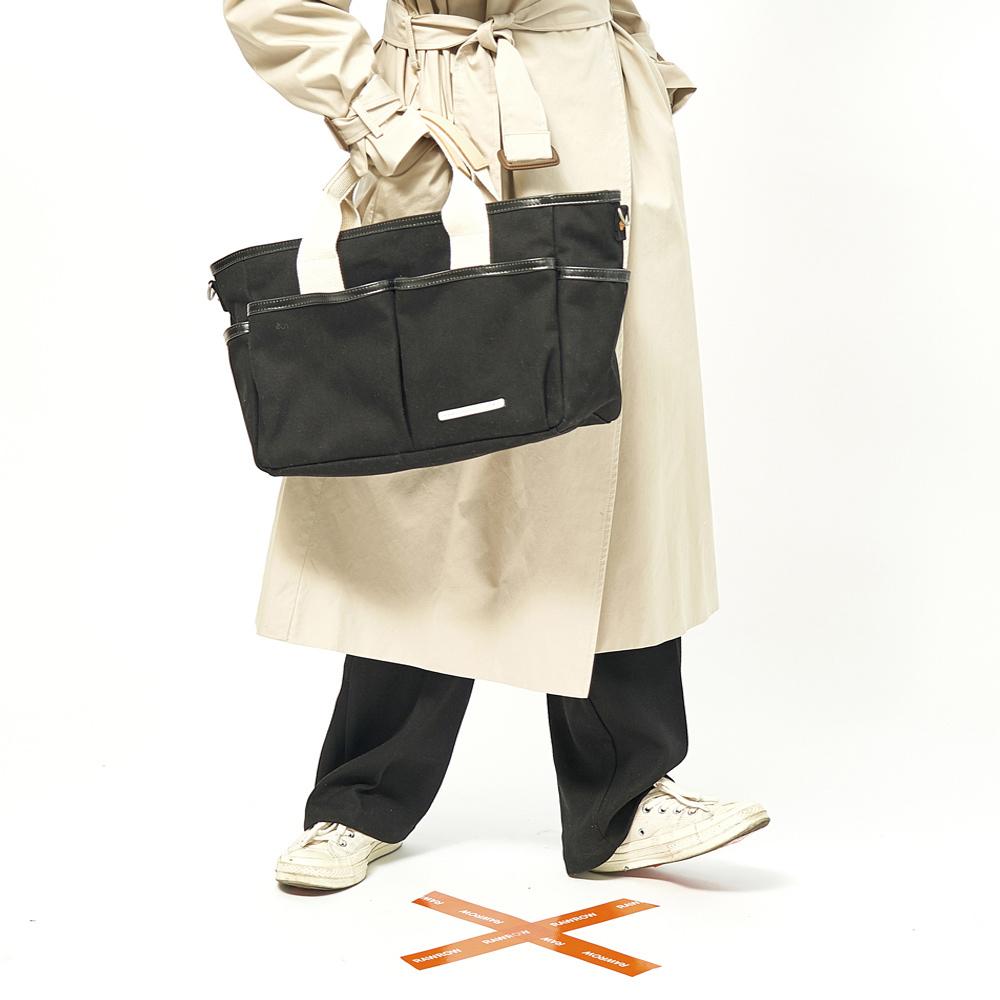 RAWROW|公園系列-雙層兩用包(手提/肩背,大,38x26cm)-墨黑-RCR720BK