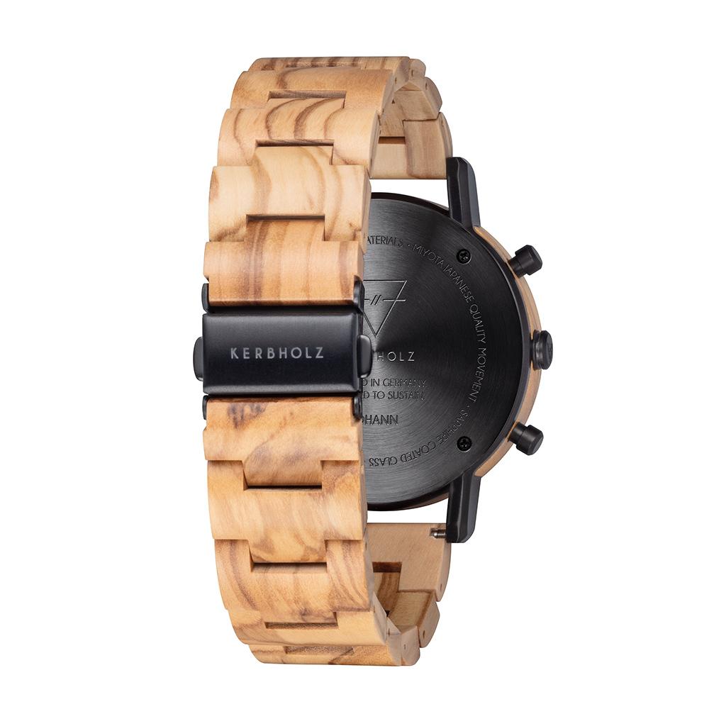 KERBHOLZ 原木手錶-Johann-橄欖木(45mm)