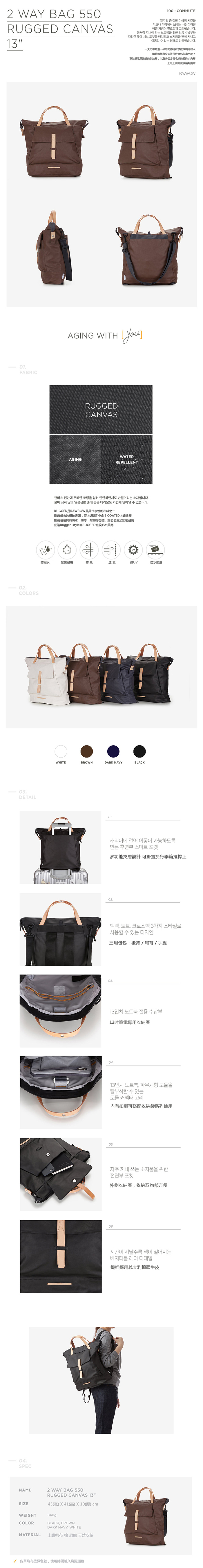 (複製)RAWROW|帆布系列-13吋俐落兩用後背包(後背/肩背)-墨黑-RBP550BK