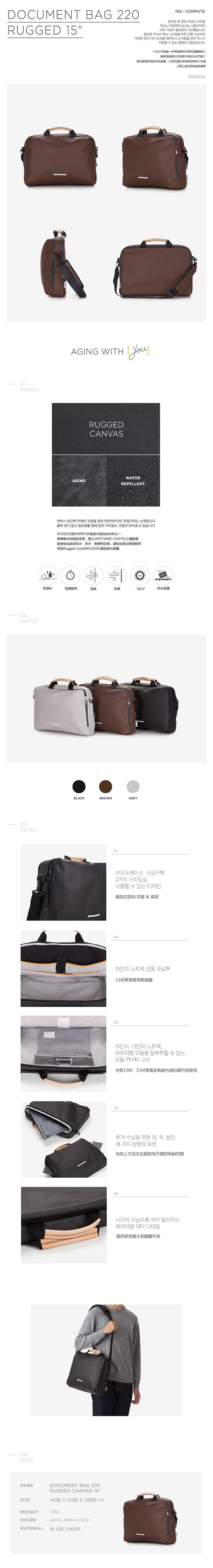 (複製)RAWROW 帆布系列-15吋三用簡約休閒包(手提/肩背/側背)-墨黑-RBF220BK