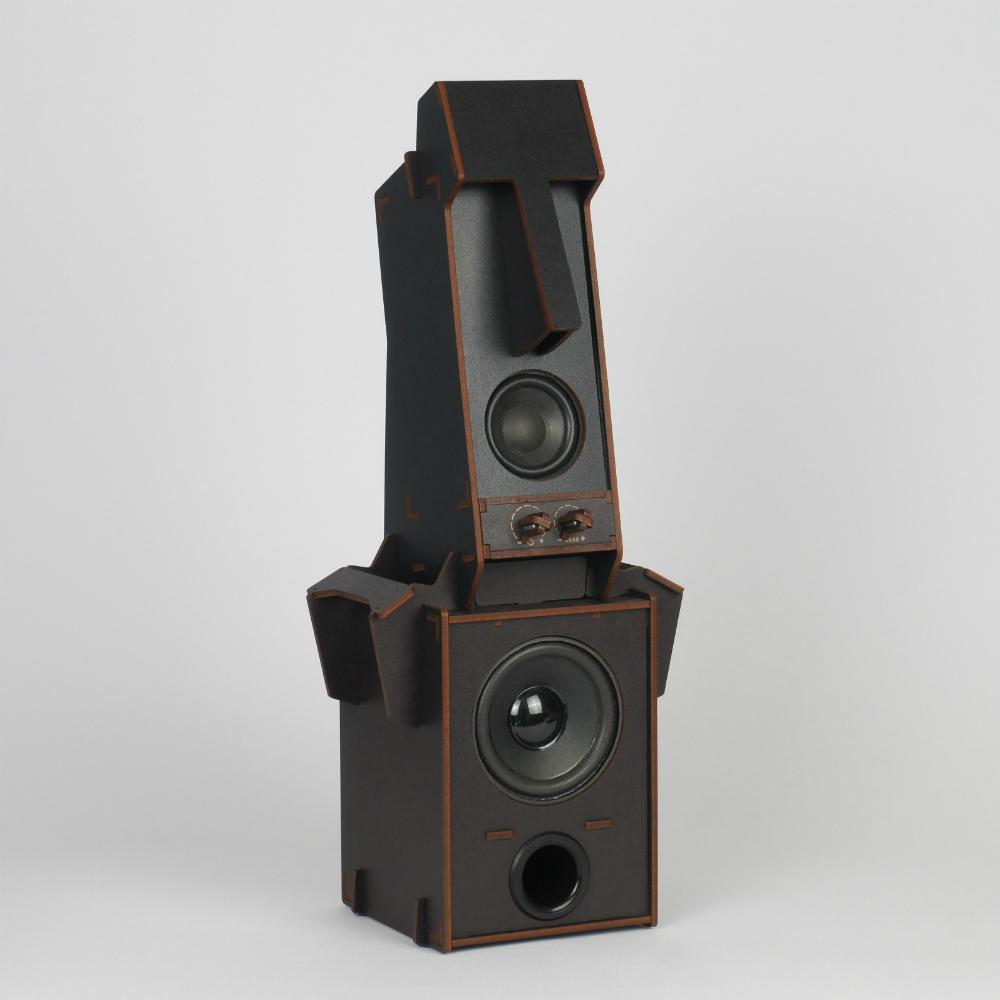 小山坡|立體拼圖音響 - 摩艾石像(1.1聲道 低音)/ 黑色