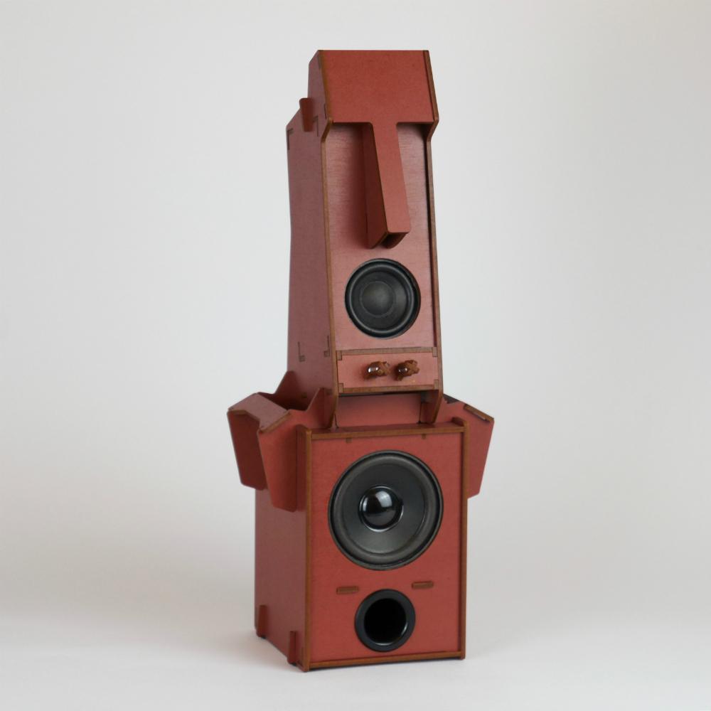 小山坡|立體拼圖音響 - 摩艾石像(1.1聲道 低音)/ 磚紅色